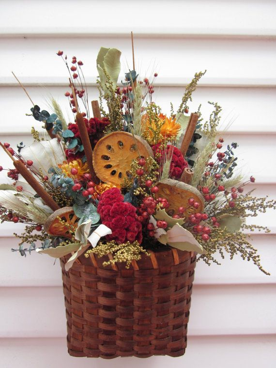 Wall Decor Basket Dried Flower Arrangement With By Notjustweeds