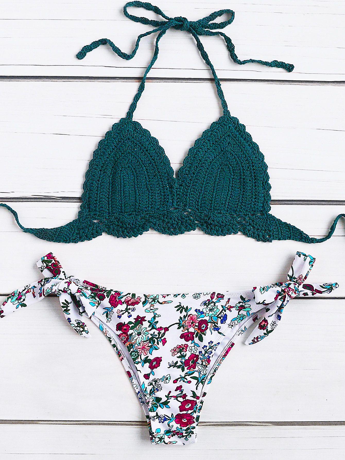 033e3f7cddec43 Conjunto de bikini tejido con estampado de calicó con cordones  laterales-Spanish SheIn(Sheinside)