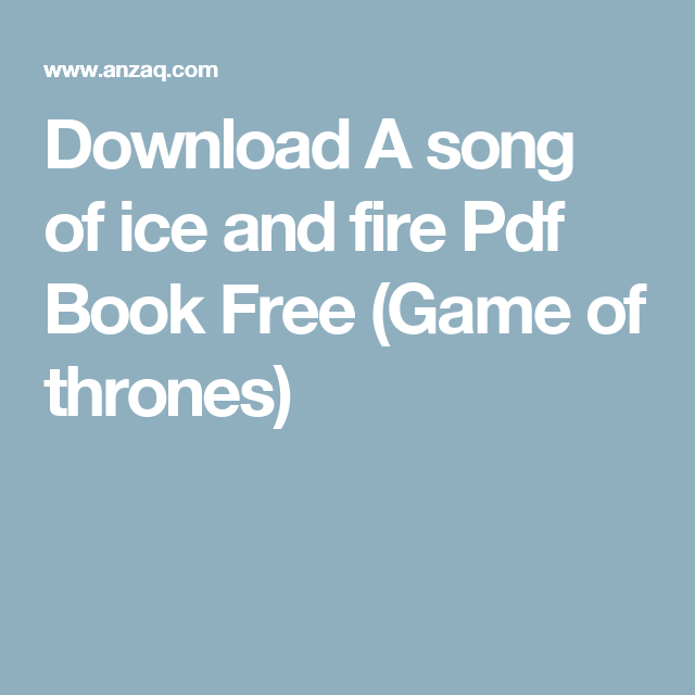 A song of ice and fire books pdf download