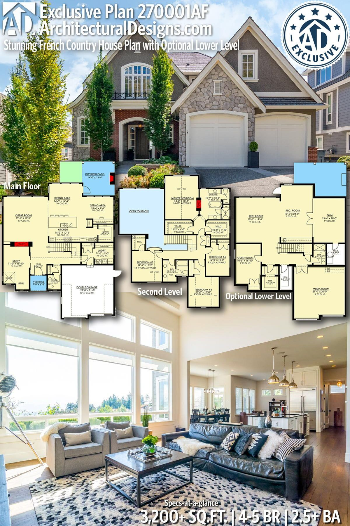 Plan 270001af Stunning French Country House Plan With Optional Lower Level French Country House Plans French Country House House Layouts