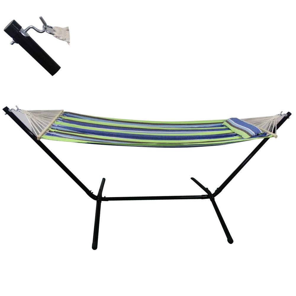 Heavy duty quilted hammock with pillow blue hammock bed