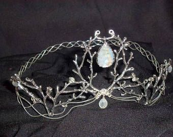 Elven Kingdom Headpiece Gold and Rainbow Moonstone 21 Inches