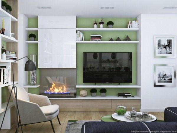 Salotto Con Decorazioni Floreali Su Parete Interior Design : Parete attrezzata con tv e camino design moderno casa