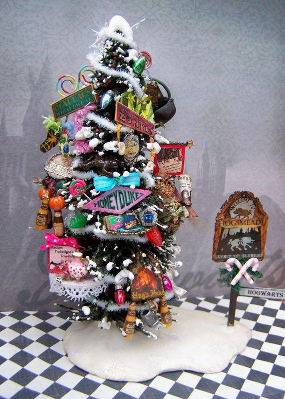 dollhouse miniature harry potter hogsmeade village business advertisement christmas tree layaway available