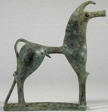 Figurine de cheval en bronze, 750 - 725 av. J.-C., Staatliche Museen Antikenabteilung, Berlin)