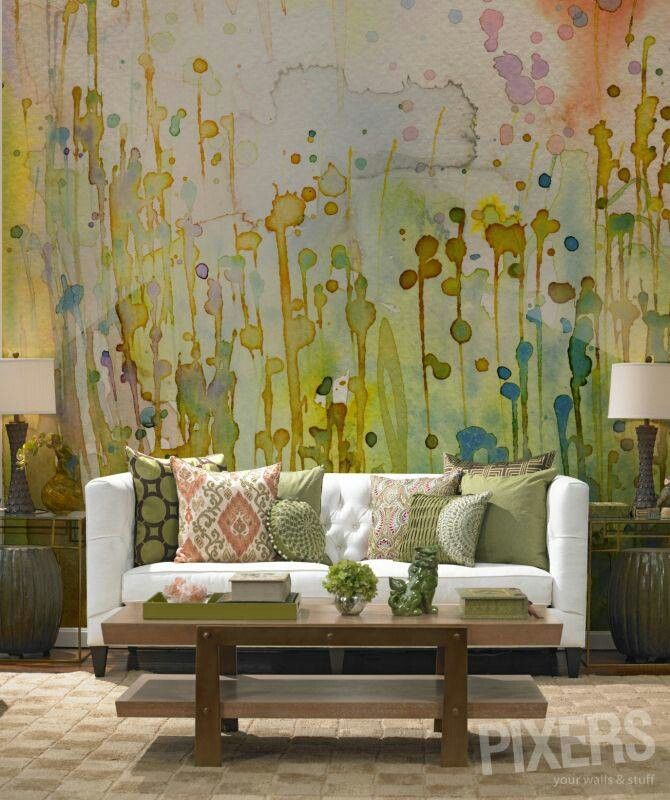 Wallpaper Accent Wall Ideas Living Room Amazing Interior: Watercolor Mural Wallpaper Statement Accent Wall