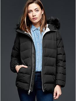 Fur · PrimaLoft® faux fur-trim matte puffer jacket ...