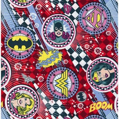 Superhero Fabric for Children Girl Power by Camelot - Sparkly Fabric