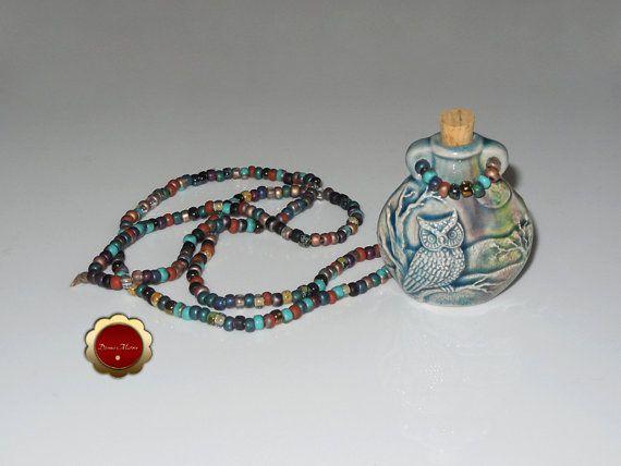 Owl Raku Necklace, Spirit Animal, Aromatherapy Oil Bottle, Pendant Necklace, Raku Beaded Necklace, Ash Urn, Bottle Necklace, Glazed Ceramic