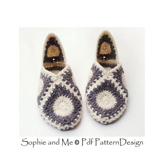 Granny Square Elf Slippers - Crochet Pattern - Instant Download Pdf ...