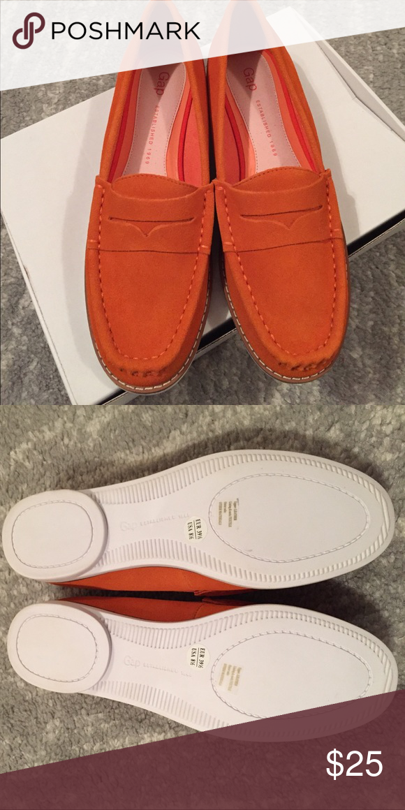 GAP orange suede loafers Perfect condition. New in box. Orange suede. Size 8.5. GAP Shoes Flats & Loafers