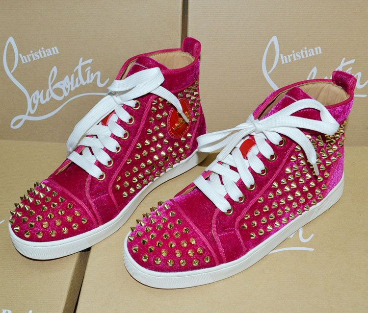newest b7059 af120 Christian Louboutin LOUIS WOMEN'S SPIKES flat,hot pink ...