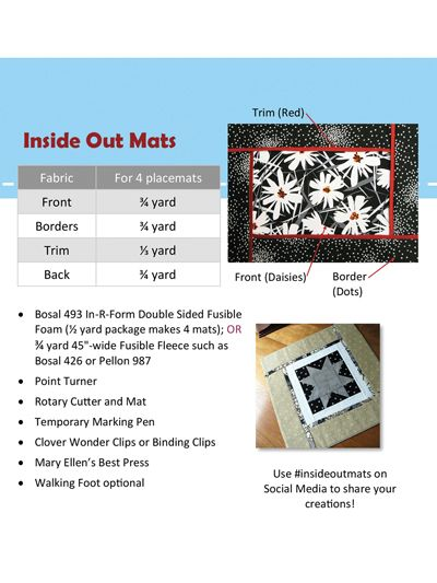 Beginner Sewing Pattern - Inside Out Mats Sewing Pattern | Quilts ...