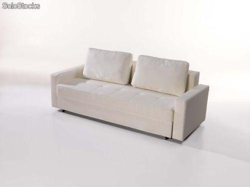Sofa cama abatible polipiel con cajones barata for Sofa cama con cajones ikea
