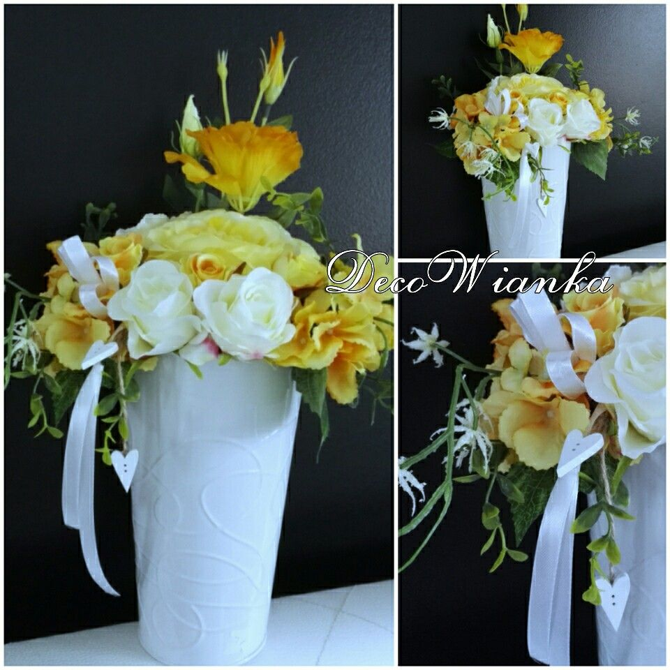 Kompozycja Kwiatowa Kompozycja Wiosenna Dekoracja Stroik Sztuczne Kwiaty Table Decorations Glass Vase Decor