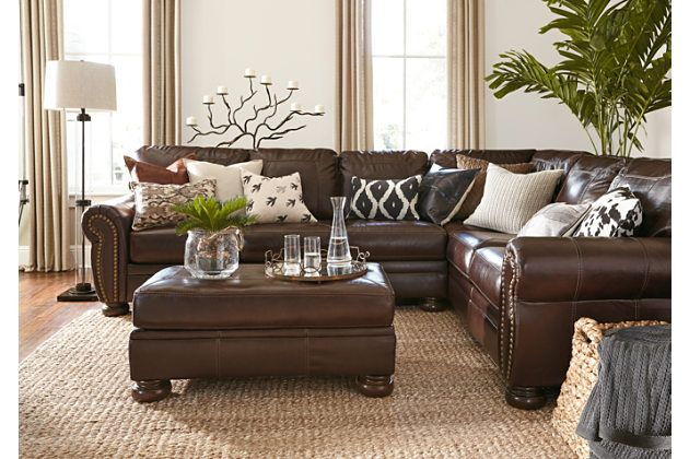 Banner 2 Piece Sectional Brown Leather Living Room Furniture