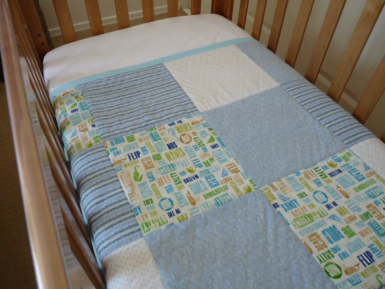 Sandy Toes Patchwork Large Cot Quilt / Play Mat in White, Blue ... : quilt play - Adamdwight.com
