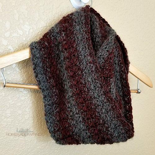 Claret Infinity Crochet Scarf Pattern | Basic crochet stitches ...