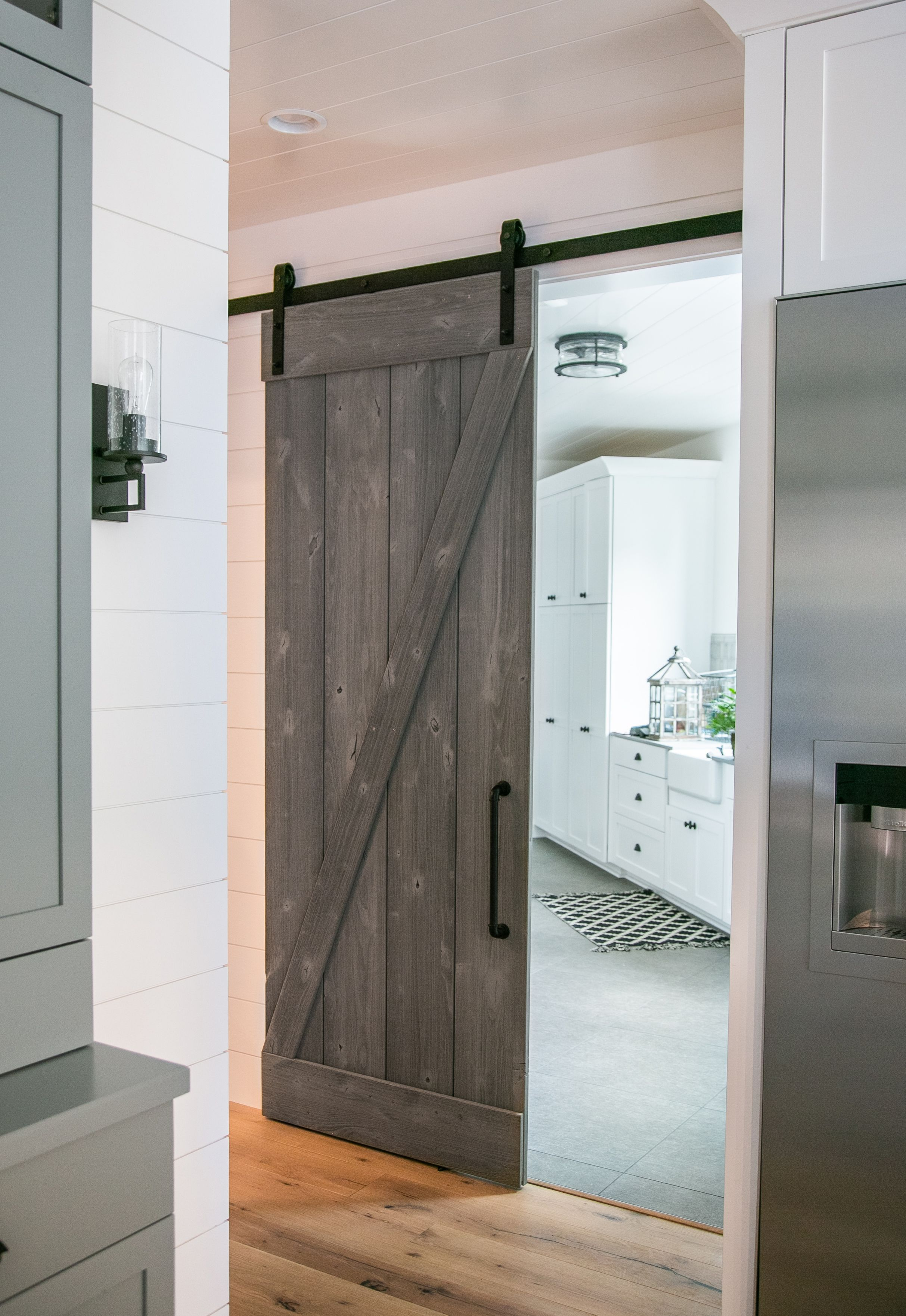 Our Z Brace Barn Door Fits In Perfectly In This Contemporary Home Add A Nautical Touch To Your Door With Our Dr Barn Doors Sliding Diy Barn Door Kit Barn Door