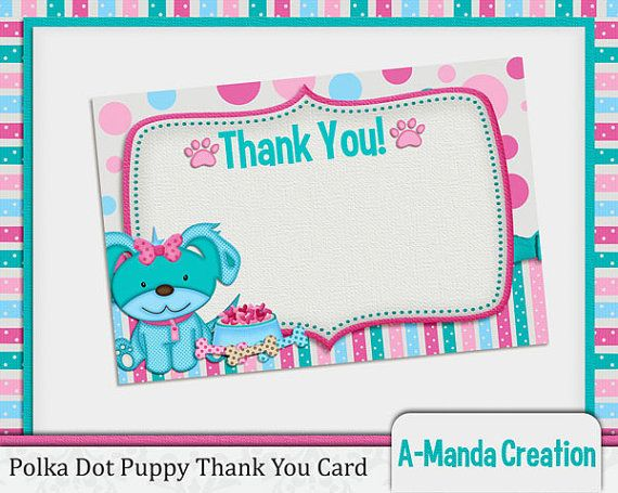 Polka Dot Puppy Printable Thank You Card Party Printables by A