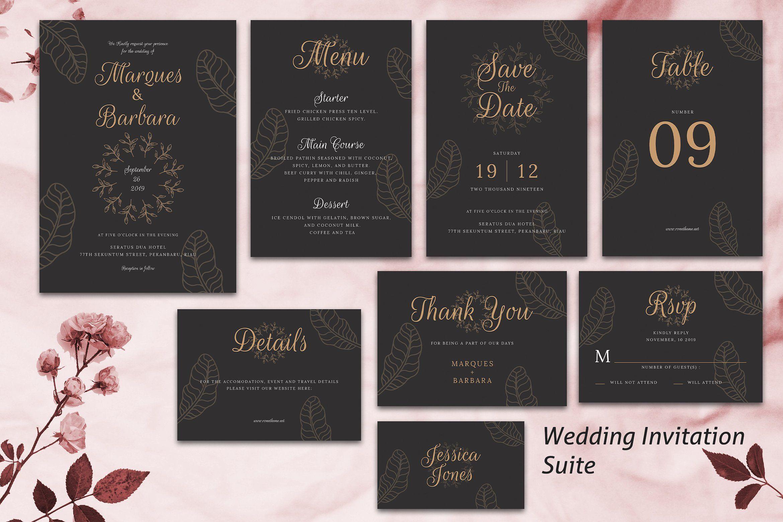 Wedding Invitation Suite Vol 02 By Rometheme On Creativemarket Graphicdesign Art Design Illustra Wedding Invitations Wedding Invitation Suite Invitations