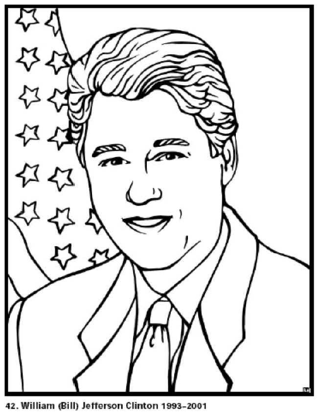 Free Printable President Bill Clinton Coloring Pages
