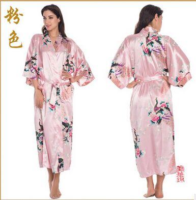 RB015 Satin Roben für Bräute Hochzeit Robe Nachtwäsche Seide Pijama Casual Bademantel Tier Rayon Langen Nachthemd Frauen Kimono XXXL