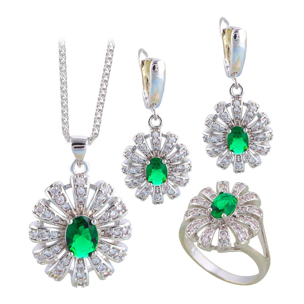 Js fashion jewelry sets green zircon silver for elegant women