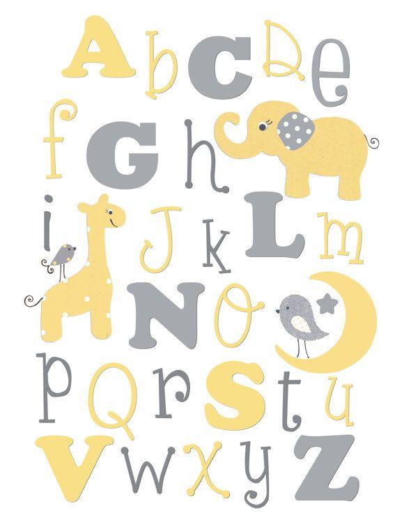 alphabet imprimer lettres murale art p pini re jaune gris kids abc d cor salle de bain de. Black Bedroom Furniture Sets. Home Design Ideas