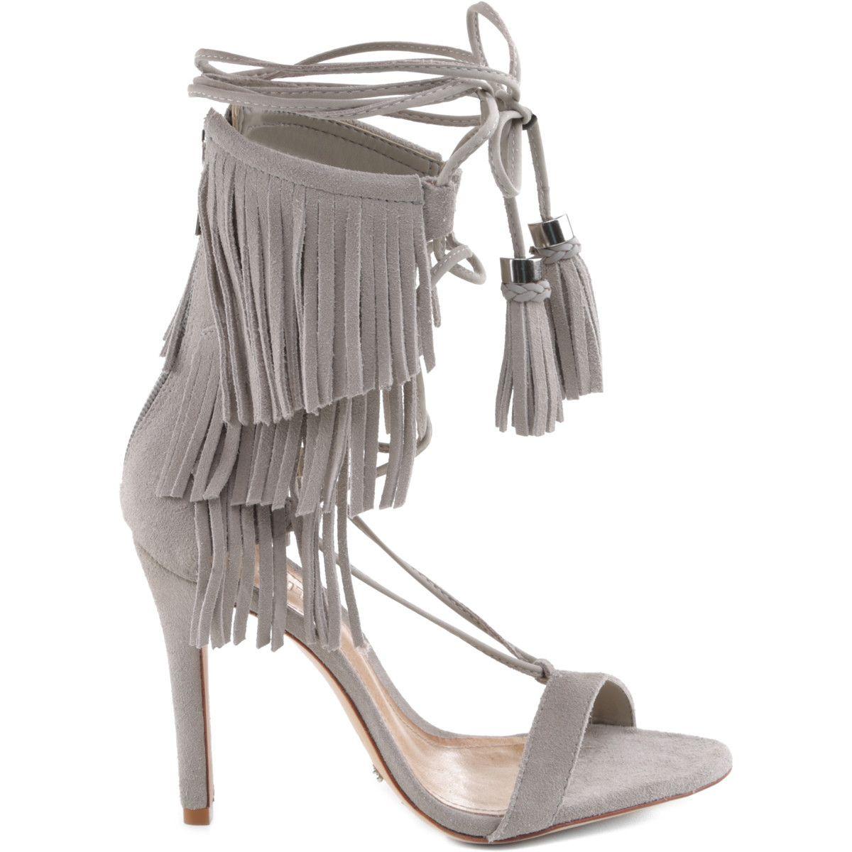 #KIJA #SchutzShoes #heels #sandals #fringe #suede #grey #shoes