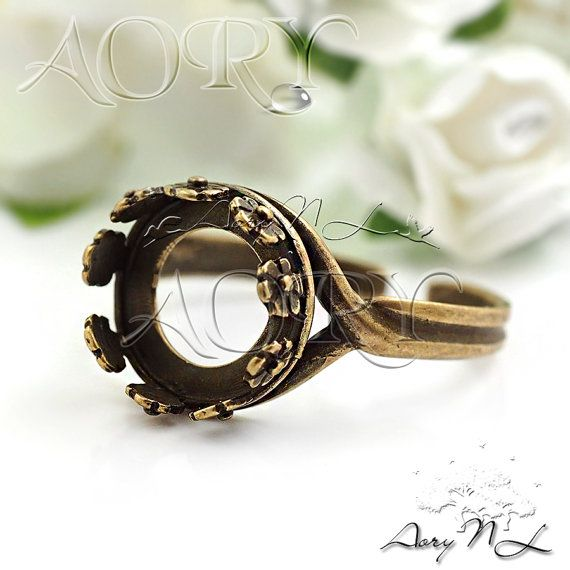 1pcs Antique Brass Flower Crown Bezel Ring Setting for by AoryNL