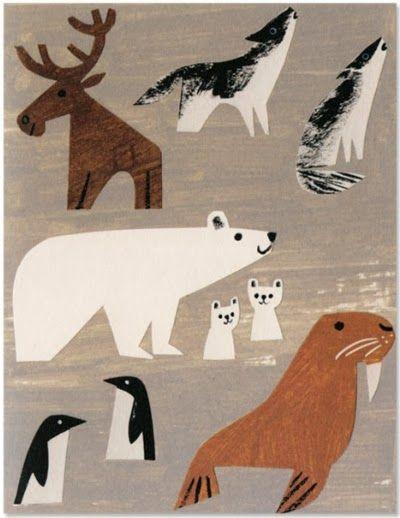 winter animals. Auf printpattern.blogspot.co.uk http://www.pinterest.com/iamlillian/illustrations-and-art/