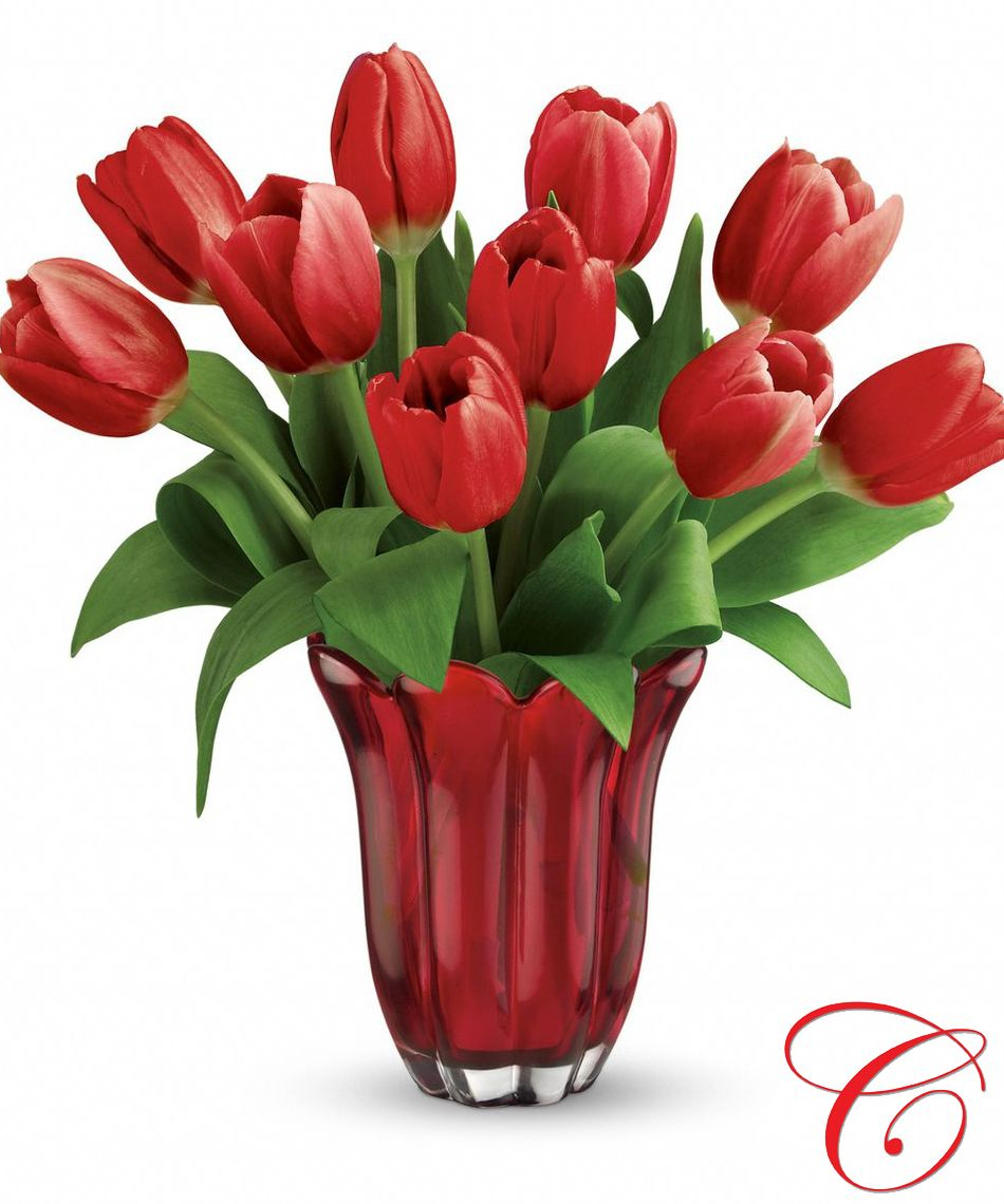 Kissed By Tulips Bouquet Ten Red Tulips Is Arranged In A Red Hot Glass Vase Flower Bouquet Pictures Valentines Flowers Fresh Flower Delivery