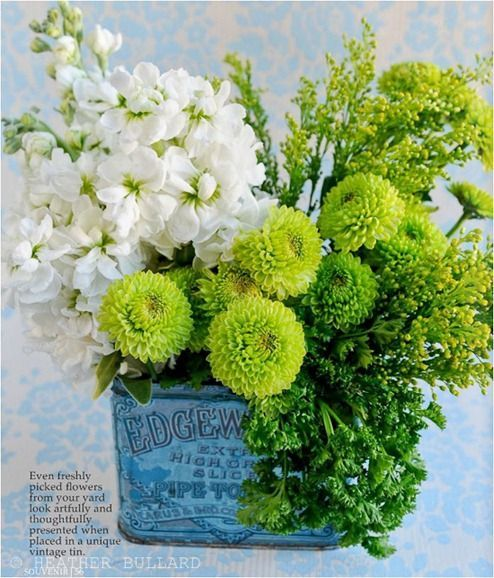 Pretty wedding eco friendly pinterest flower arrangements love the mix of the white pale bright green flowers in the vintage tin mightylinksfo