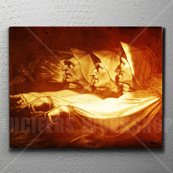 Three Witch Sisters 16x20 Large Artist Canvas Print Occult Home Decor Witchcraft