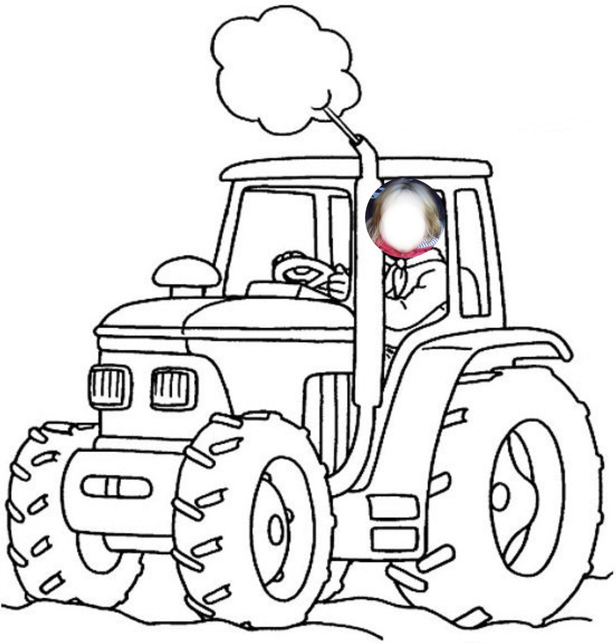 Coloriage De Tracteur Avec Une Remorque Coloriageferme In 2020