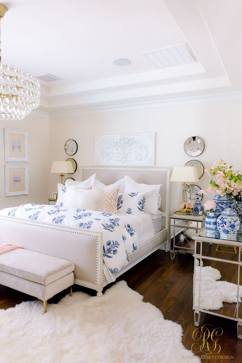 Dark To Light Before And After Home Tour Randi Garrett Design Blue Master Bedroom White Master Bedroom Luxurious Bedrooms Home tour master bedroom after