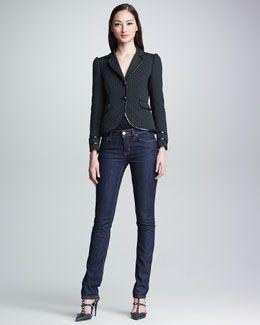 RED Valentino Padded Diamond Matelasse Jacket & 5-Pocket Straight-Leg Jeans