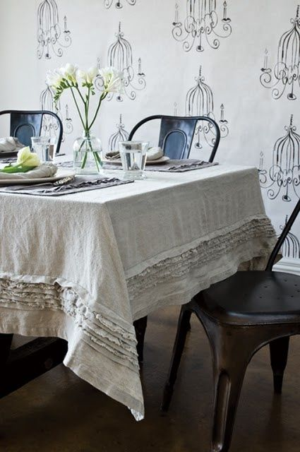 do able with a couple of cheap o drop cloths from big lots holly rh pinterest com Elegant Table Cloths Dining Room Table Decor