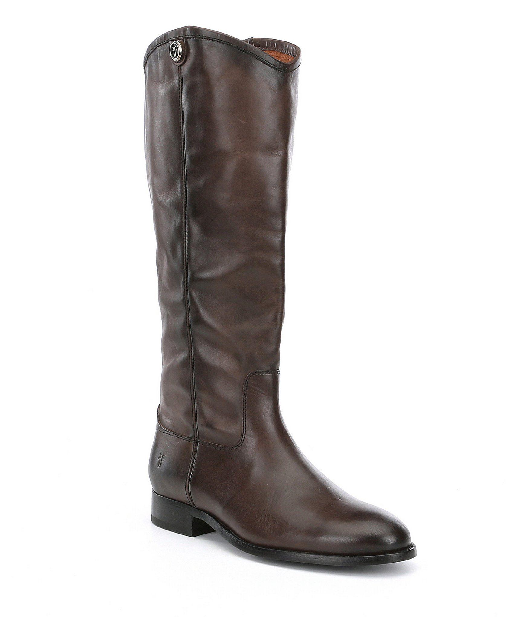 Frye Melissa Button 2 Tall Block Heel Riding Boots - Smoke 6.5M