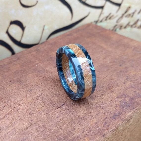 Whiskey Barrel Ring Blue Acrylic Ring Reclaimed Wood Wooden Ring Wood Anniversary