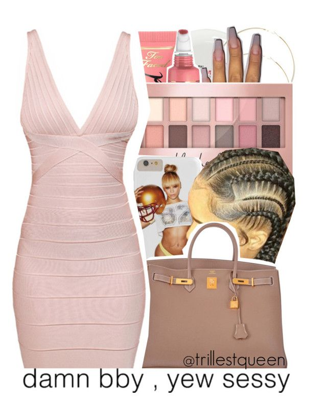 """12-30-2016."" by trillestqueen ❤ liked on Polyvore featuring ASOS, Too Faced Cosmetics, Maybelline, Hermès and Hervé Léger"