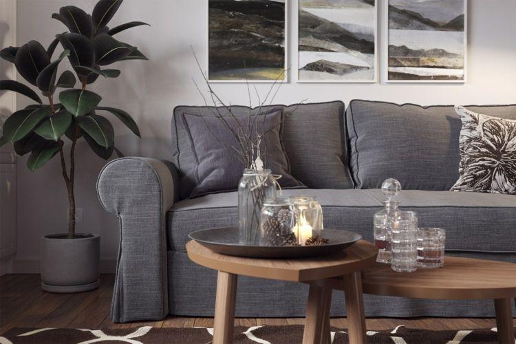 bodenbelag braun sofa grau farbkombination wohnzimmer #wohnzimmer ...