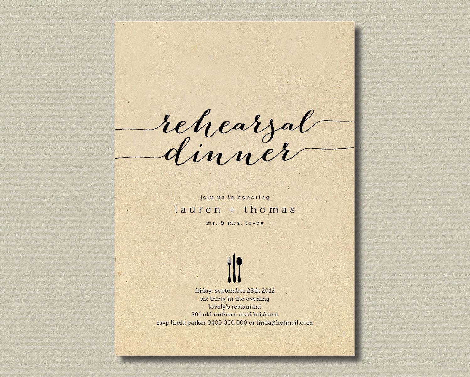 Printable Wedding Rehearsal Dinner Invitation Rustic Background