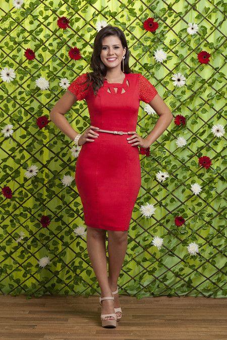 Vestido Vermelho Newman- Bella Herança - Vestido vermelho com manga rendada
