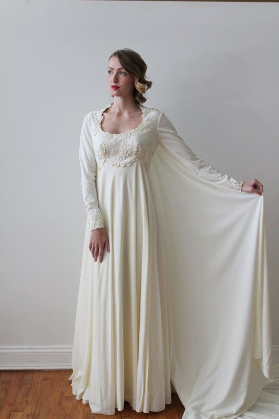Vintage 1970s Long Sleeved Ivory Empire Waist Wedding Dress With
