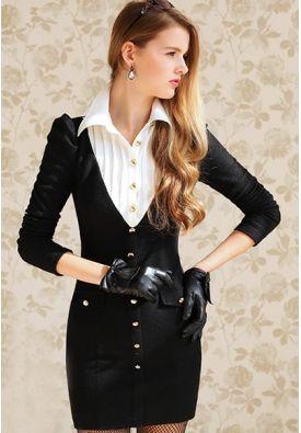 Stylish Slim Turn-down Collar Split Joint Dress