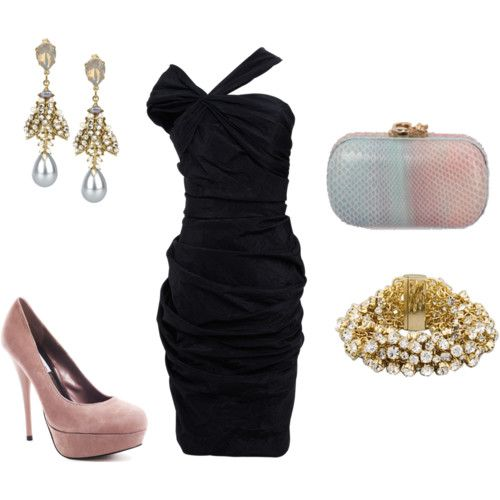 Black Dress With Pastel And Gold Accessories My Style Fashion