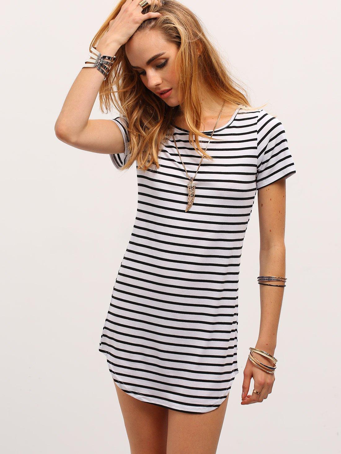 Contrast striped curved hem tshirt dress white patterns colour