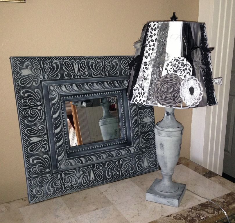 My latest project! Hand painted mirror and lamp (gray and black), with ribbon and material lampshade with handmade flowers.  $40 for mirror and $69 for lamp.